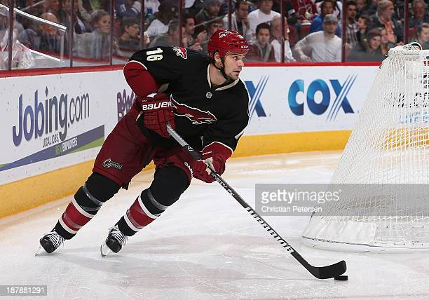 Rostislav Klesla of the Phoenix Coyotes skates with the puck during the NHL game against the Vancouver Canucks at Jobingcom Arena on November 5 2013...