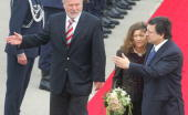 European Commission President Jose Manuel Barroso and his wife Margarida Sousa Uva are welcomed by MecklenburgWestern Pomerania's State Premier...