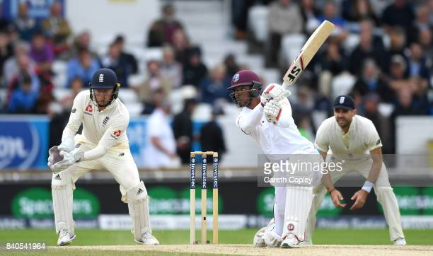 Roston Chase of the West Indies bats during day five of the 2nd Investec Test between England and the West Indies at Headingley on August 29 2017 in...