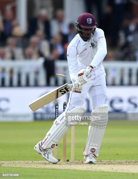 Roston Chase of the West Indies is bowled by Ben Stokes of England during day one of the 3rd Investec Test match between England and the West Indies...