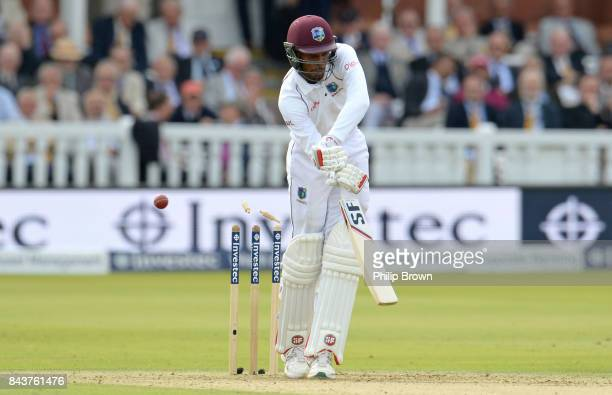 Roston Chase of the West Indies is bowled by Ben Stokes of England during the third cricket test between England and the West Indies at Lord's...