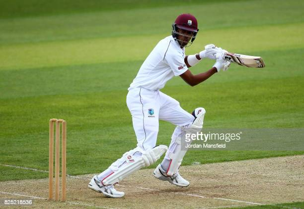 Roston Chase of West Indies bats during the Tour Match between Essex and West Indies at Cloudfm County Ground on August 1 2017 in Chelmsford England