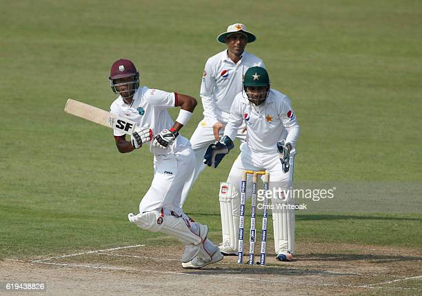 Roston Chase of West Indies bats on day two of the third test between Pakistan and West Indies at Sharjah Cricket Stadium on October 31 2016 in...