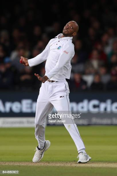 Roston Chase of West Indies bowls during day three of the 3rd Investec Test match between England and West Indies at Lord's Cricket Ground on...