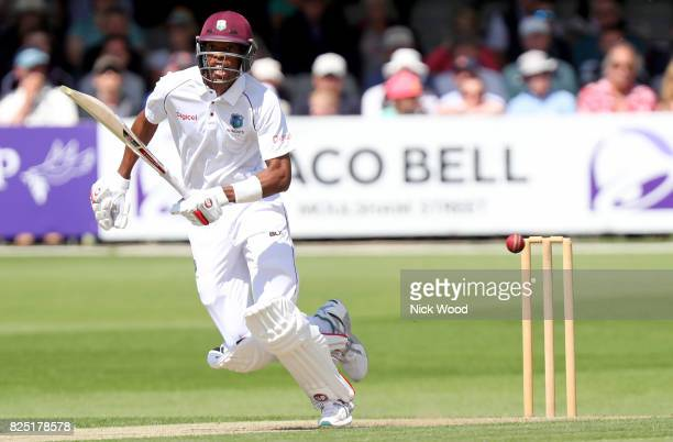 Roston Chase of West Indies in batting action during the Essex v West Indies Tour Match cricket match at the Cloudfm County Ground on August 01 2017...