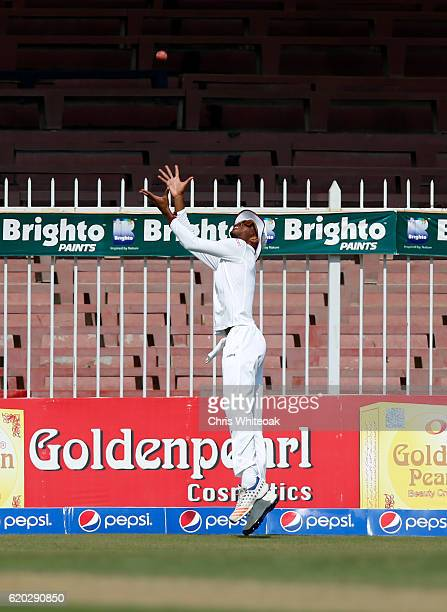 Roston Chase of West Indies saves a boundry on day four of the third test between Pakistan and West Indies at at Sharjah Cricket Stadium on November...