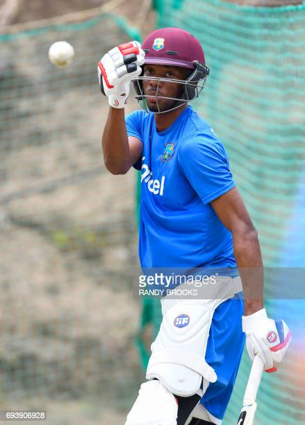 Roston Chase of West Indies takes part in a training session at Darren Sammy National Cricket Stadium on June 08 2017 in St Lucia ahead of the West...