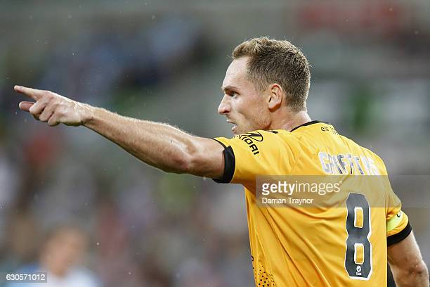 Rostyn Griffiths of Perth Glory gestures to the referee during the round 12 ALeague match between Melbourne City and Perth Glory at AAMI Park on...