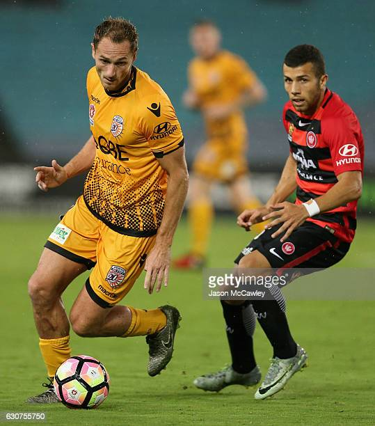 Rostyn Griffiths of the Glory controls the ball during the round 13 ALeague match between the Western Sydney Wanderers and Perth Glory at ANZ Stadium...