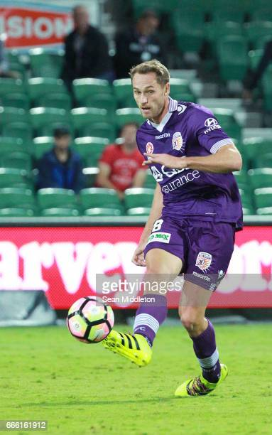 Rostyn Griffiths of the Glory during the round 26 ALeague match between the Perth Glory and Brisbane Roar at nib Stadium on April 8 2017 in Perth...