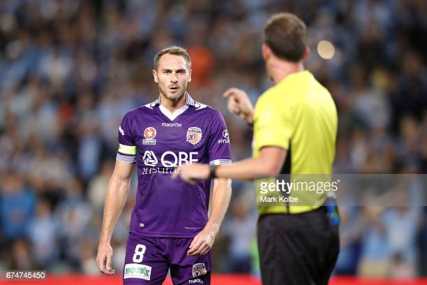 Rostyn Griffiths of the Glory makes his point to referee Peter Green during the ALeague Semi Final match between Sydney FC and the Perth Glory at...