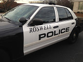 Roswell police car seen near North Fulton Hospital on January 31 2015 in Roswell Georgia Bobbi Kristina Brown daughter of Whitney Houston and Bobby...