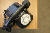A rotary phone sits on desk of the newly opened Black Police Precinct and Courthouse Museum February 3 2009 in Miami Florida The museum is located in...