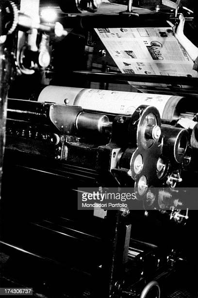 Rotary press in a graphics workshop working 1950s