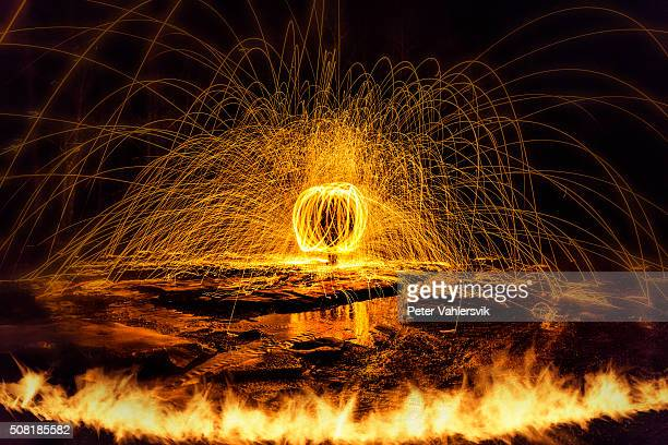 Rotating burning steel wool