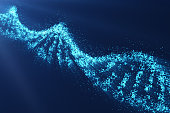 Rotating DNA, Genetic engineering scientific concept, blue tint. 3d rendering