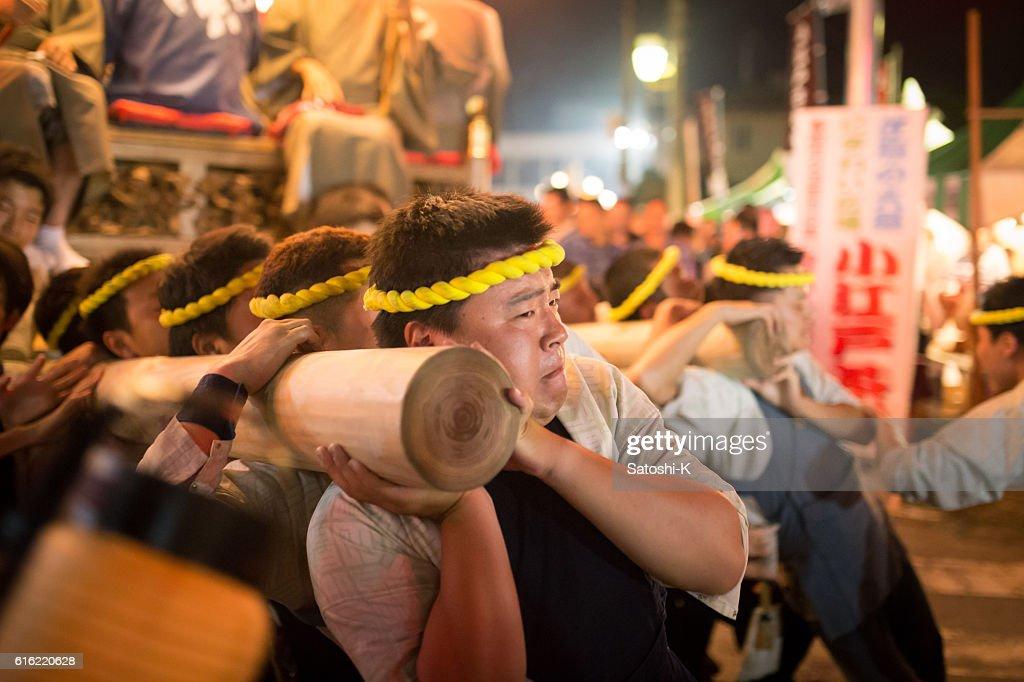 Rotating parade float by human power - Sawara Autumn Festival : Stock Photo