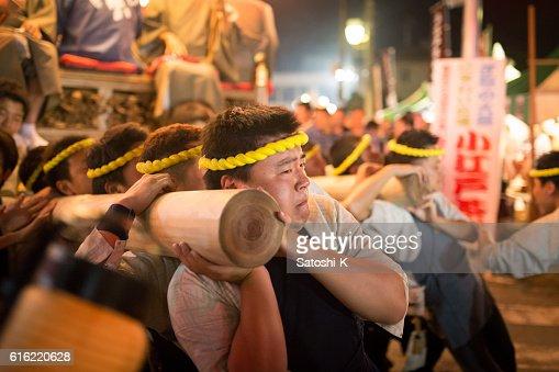 Rotating parade float by human power - Sawara Autumn Festival : Foto stock