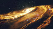 Rotating spiral galaxy with stars in outer space 3d illustration