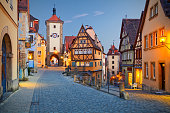 Image of the Rothenburg ob der Tauber a town in Bavaria, Germany, well known for its well-preserved medieval old town.