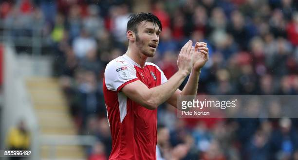 Rotherham United goalscorer Kieffer Moore applauds the crowd as he he leaves the pitch to be substituted during the Sky Bet League One match between...