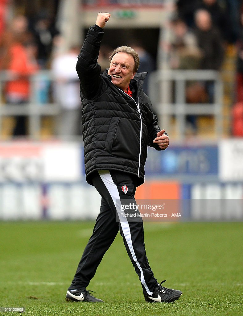 Rotherham United Manager <a gi-track='captionPersonalityLinkClicked' href=/galleries/search?phrase=Neil+Warnock&family=editorial&specificpeople=644786 ng-click='$event.stopPropagation()'>Neil Warnock</a> celebrates at the end of the Sky Bet Championship match between Rotherham United and Derby County at the New York Stadium on March 12, 2016 in Rotherham, United Kingdom.