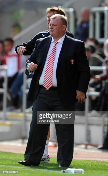 Rotherham United manager Steve Evans looks on during the Sky Bet League One match between Rotherham United and Sheffield United at the New York...