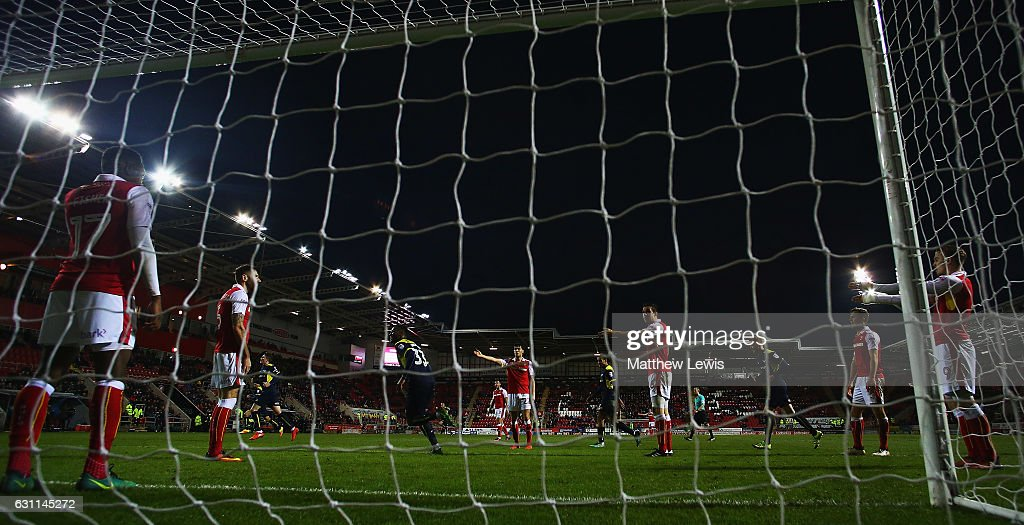 Rotherham United players look on, after Phil Edwards of Oxford United scored his teams second goal during The Emirates FA Cup Third Round match between Rotherham United and Oxford United at The New York Stadium on January 7, 2017 in Rotherham, England.