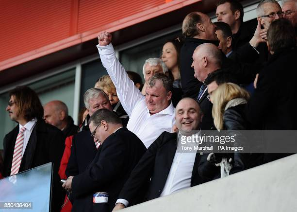 Rotherham United's manager Steve Evans celebrates at the end of the npower League Two match at the New York Stadium Rotherham