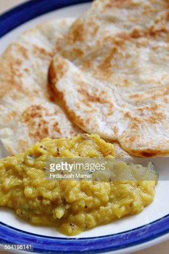 Roti Canai or Roti Pratha and Dhal sauce