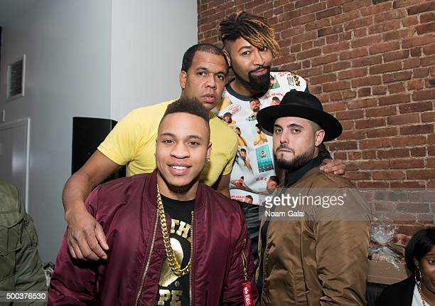Rotimi Johnny Nunez Ty Hunter and Nick Semkiw attend the Ty Hunter Emoji app launch on December 7 2015 in New York City