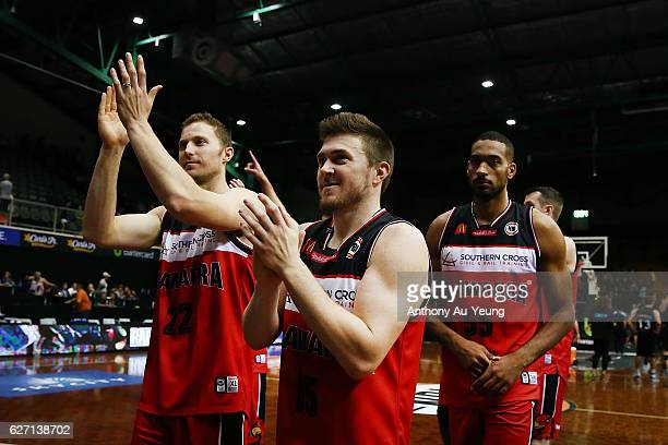 Rotnei Clarke of the Hawks celebrates with the team after winning the round nine NBL match between the New Zealand Breakers and Illawarra Hawks at...