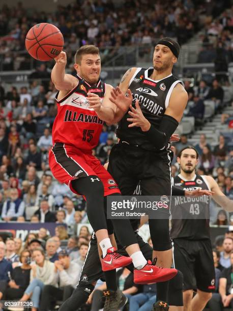 Rotnei Clarke of the Hawks passes the ball during the round 18 NBL match between Melbourne United and the Illawarra Hawks at Hisense Arena on...