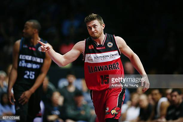 Rotnei Clarke of the Hawks reacts during the round nine NBL match between the New Zealand Breakers and Illawarra Hawks at North Shore Events Centre...