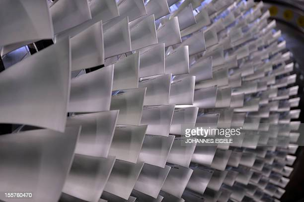A rotor of a Gas Turbine of German's industrial giant Siemens is pictured on November 8 2012 in Berlin Siemens launched a massive strategic effort to...