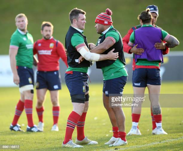Rotorua New Zealand 15 June 2017 Peter O'Mahony left and Kyle Sinckler during a British and Irish Lions training session at the Rotorua International...