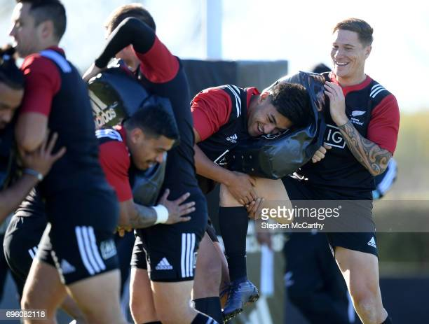 Rotorua New Zealand 15 June 2017 Rieko Ioane and Declan ODonnell right during a Maori All Blacks training session at Puketawhero Park in Rotorua New...