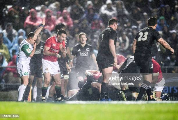 Rotorua New Zealand 17 June 2017 Conor Murray of the British Irish Lions celebrates after teammate Maro Itoje scored their side's second try during...