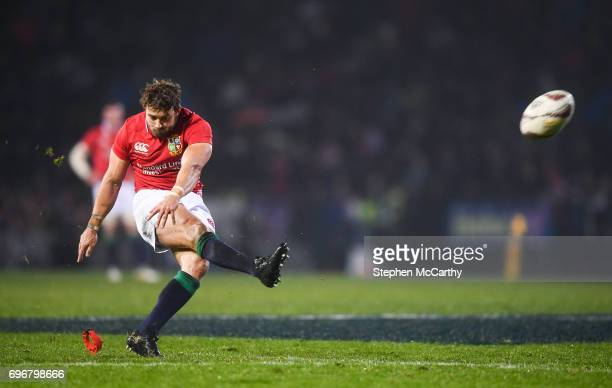 Rotorua New Zealand 17 June 2017 Leigh Halfpenny of the British Irish Lions kicks a penalty during the match between the Maori All Blacks and the...