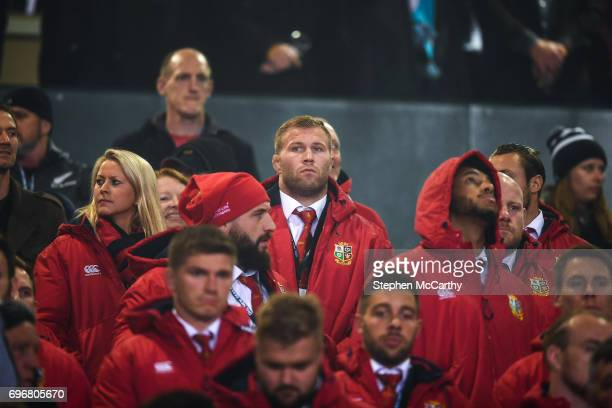 Rotorua New Zealand 17 June 2017 Ross Moriarty of the British Irish Lions watches from the stands during the match between the Maori All Blacks and...