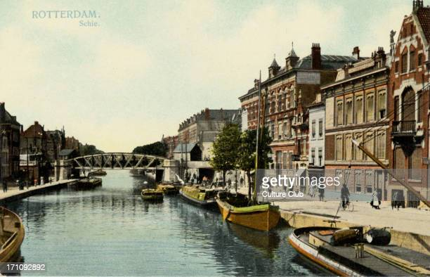 Rotterdam canal with boats schie Postcard