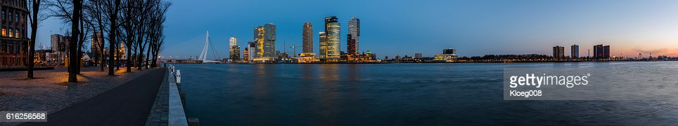 Rotterdam Large Panoaramic View from Westerkade : Foto de stock