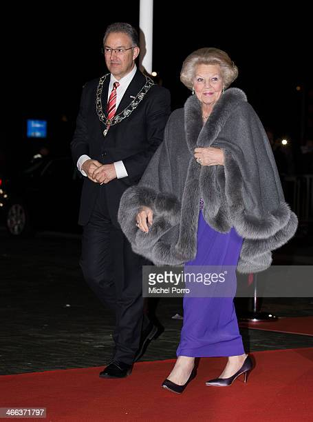 Rotterdam Mayor Ahmed Aboutaleb and Princess Beatrix of The Netherlands arrive to attend a celebration of the reign of Princess Beatrix on February 1...