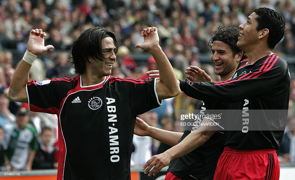 Ajax players Argentinian striker Mauro Damian Rosales Nourdin Boukhari and Hedwiges Maduro celebrate after Rosales scored 10 for Ajax Sunday April 23...