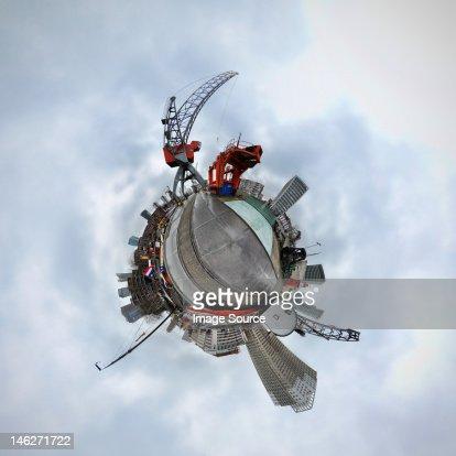 Rotterdam, Netherlands, little planet effect : Stock Photo