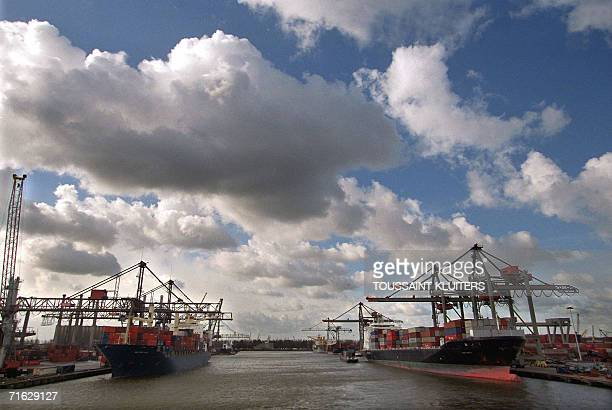 This file photo taken 30 October 1998 shows ships at dock in the container terminal at the Rotterdam harbour Rotterdam the biggest European port that...
