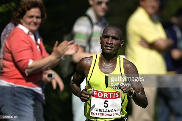 Winner Joshua Chelanga from Kenya crosses the finish to win in 20821 the 27th edition of Rotterdam Marathon 15 April 2007 AFP PHOTO / ANP PHOTO /...
