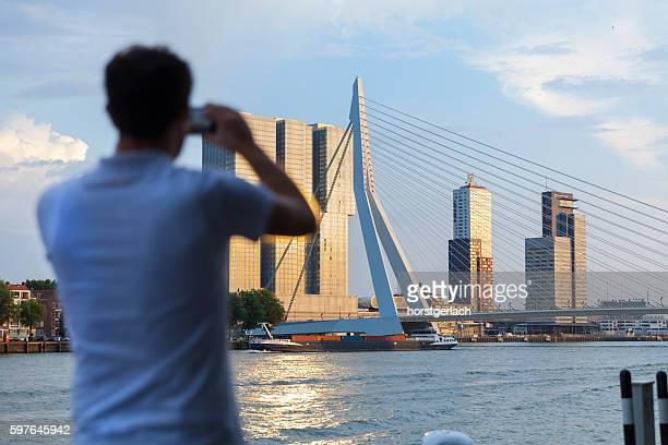 Rotterdam skyline at sunset, Netherlands