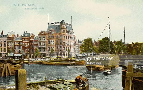 Rotterdam Spanish quay spaansche kade cargo boats Postcard