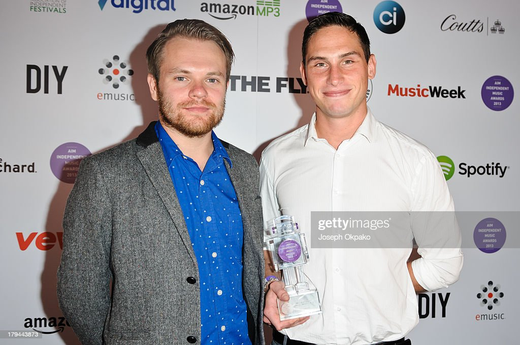 Rou Reynolds and Rob Rolfe of Enter Shikari attend the AIM Independent Music Awards at The Brewery on September 3, 2013 in London, England.